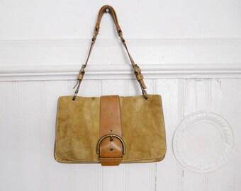 Vintage Coach Light Brown Suede Leather Shoulder Bag purse