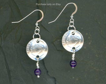 55th Birthday 1963 Silver Dime Amethyst Earrings 55th Birthday Gift For Women 55th Anniversary Gift Coin Jewelry Gift For Her