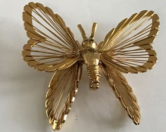 Gold Tone Monet Butterfly Brooch