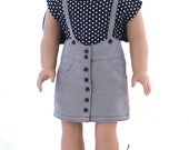 """18"""" Doll Clothes Fits American Girl Doll - High Waisted Suspender Skirt Outfit"""
