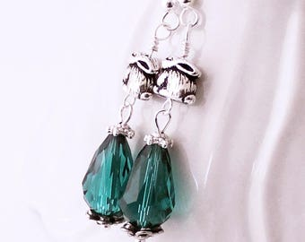 Teal Crystal Rabbit Earrings - Pewter Bunny Beads, Beaded Drop Earrings, Bunny Rabbit Bling , Silver Plated Earwires, Bunny Earrings