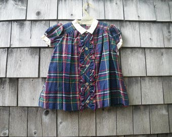 Baby Girl Plaid Cotton Dress 1960s Navy Blue Red Green by Nannette