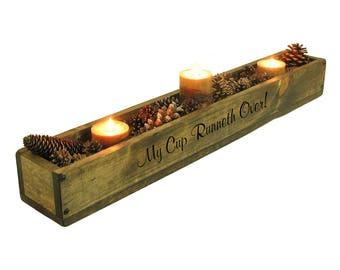 Long Wooden Box, Long Wood Trough, Table Centerpiece Trough, Long Candle Holder, Long Mantle Trough, Long Narrow Trough Box Centerpiece,