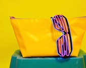 Made in UK Wyatt and Jack Upcycled Yellow  Tan Bouncy Castle PVC Make Up  Cosmetic  Wash Kit Bag Pouch