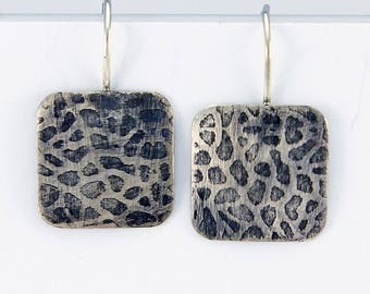 """Handcrafted Sterling Silver Textured Squares Threader Earrings """"Sea Fan"""" Contemporary Minimalist Artisan Jewelry Design 369766094/6/17"""