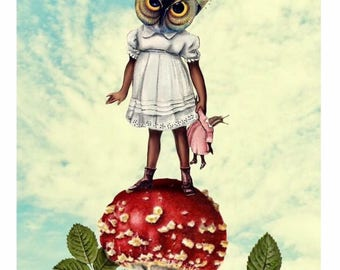 Owl Girl on a Mushroom Original Collage Print UV protected 7x5inches blythe doll bird forestSurreal Scientific Illustration Weird