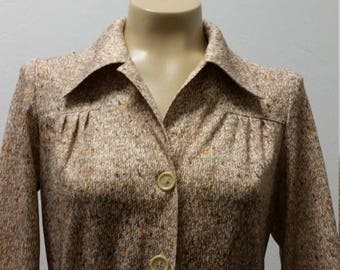Clear Out Sale 1970s Polyester Day Dress by Lorch, Shirt Dress, Tan and Brown, Size S/M  #37123