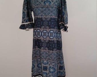 Clear Out Sale 1970s Polynesian Hawaiian Maxi Dress XXL, Mu Mu,Bohemian Hawaiian Print, Size XXL, #59395