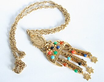 Vintage boho necklace.  Ethnic necklace. Gemstone necklace.  Vintage jewellery