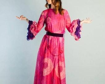 40% OFF SALE - Vintage 1960's Chiffon Sleeve Flounce Dress