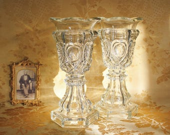Antique Pair of Sandwich Glass Celery Vases Heart and Waffle Pattern