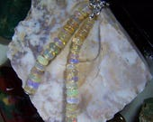 Natural Welo Opal Beads Silver Double Lariat Necklace