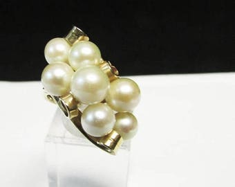 For Sale Vintage Estate Beautiful Ming's of Honolulu 7 High Luster White  Pink Toned Pearl Ring