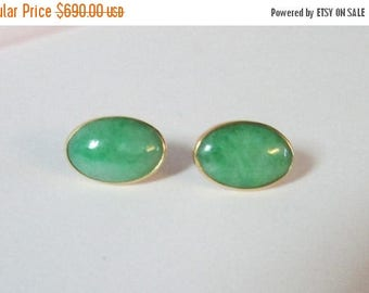 For Sale Vintage Estate 1930's 9KT Gold Mount Apple Green Jade Earrings with 14K Posts and Backings