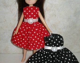 "Handmade 7"" doll clothes for Lottie - Polka Dot Dress"
