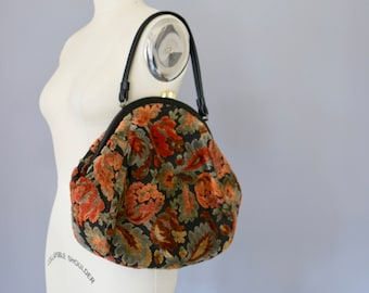 1960s Purse / Tapestry Purse / Vintage Purse / 1960s Bag 1960s Handbag / Carpetbag Carpet Bag Shoulder Bag Large Purse Large Bag
