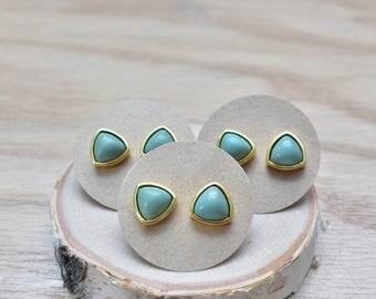 20% EARRING STUD SALE Gold Triangle Green Turquoise Stud Earrings/ Gold Stud Post Earrings Natural Green Grey Turquoise/ Natural Turquoise G