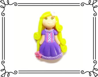 Cold Porcelain Clay Princess Rapunzel Figurine, Bow Center, Pendant, Clay Charm, Ornament, Purse Charm, Brooch, Magnet, Necklace, Jewelry
