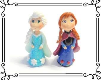 Cold Porcelain Clay Princess Anna & Elsa Figurines Set, Anna and Elsa Cake Toppers, Cupcake Topper, Princess Anna and Elsa Ornaments,