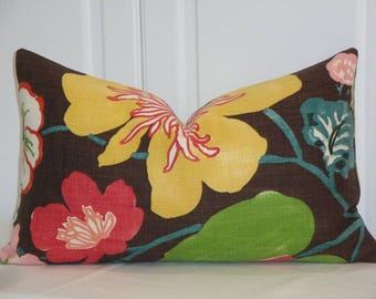 DOUBLE SIDED - Decorative Pillow Cover - Throw Pillow - Accent Pillow - Flower Pillow - Teal - Red - Green - Yellow - Brown