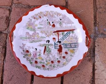 Vintage Hand Painted Geisha Girl Cake/Serving Plate