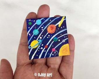 Solar System art magnet, miniature painting magnet, acrylic canvas art magnet for home or office.