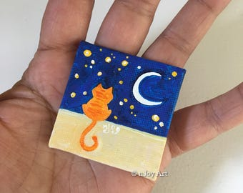 Orange Cat mini art, miniature painting magnet, acrylic canvas art magnet for home or office.
