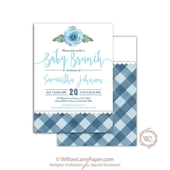 buffalo plaid baby brunch invitation for a boy baby shower invites