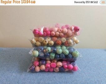 CLEARANCE Colorful Wooden Beads Macrame Beads For Crafting or Jewelry Kids Projects Mixed Media Wood Beads