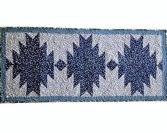 "Quilted Table Runner Handmade / Quilted Table Topper / Quilted Table Linen for Sale - Blue and White – 17-1/2"" wide x 39-3/4"" long"