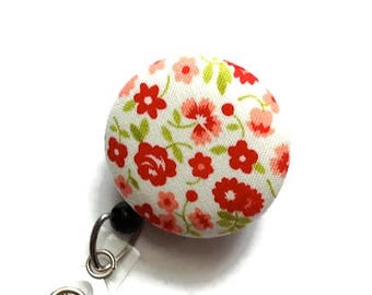 Floral Badge Reel Retractable Badge Reel Id Badge Holder Name Badge Holder Swivel Badge Clip Nurse Id Holder Teacher Gift White Red
