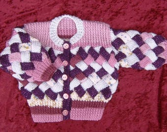 Girl's hand knitted entrelac cardigan (ref 004)