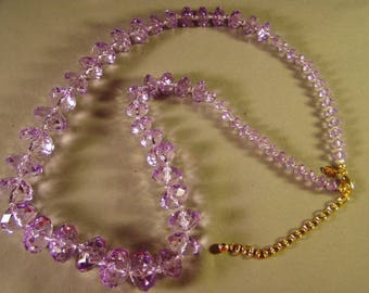 Vintage Joan Rivers Lavender Lucite Crystal Bead Necklace Big Chunky Style 9281