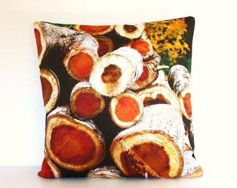 "SALE SALE SALE Organic cotton Pillow cover, 40cm decorative cushion, 16 inch cushion Firewood organic cotton cushion cover, pillow, 16"", 41c"