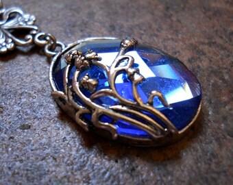 Sapphire Blue Glass Silver Pendant, Sapphire Blue Floral Silver Pendant