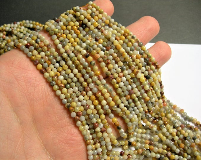 Crazy Lace Agate - 3mm round - 1 full strand - 124 beads - A quality - PG63