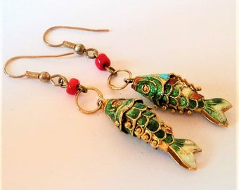 Pair Articulated Enamel Fish Earrings