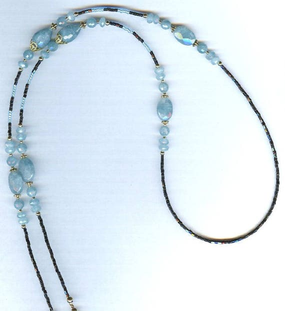 Sparkling Angelite Gemstone Large Teardrop Beaded ID Badge Lanyard or Eyeglass Chain