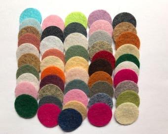 Wool Felt Circles Die Cut 50 - .75 inch Random Colored 4112 - DIY Felt - Merino Felt - Arts and Crafts - Hair Clip Supply - Die Cut Felt