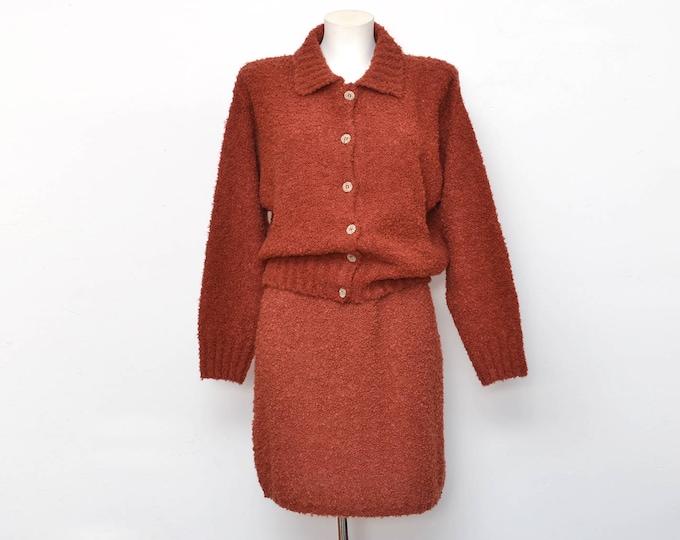 Vintage dead stock 90s maroon jacket and skirt set