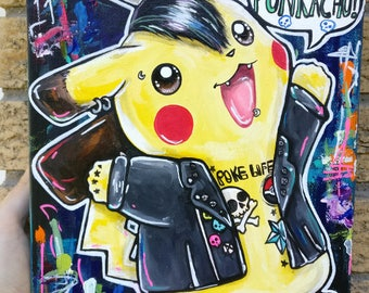 Punk Pikachu Pokemon Art - Original Lowbrow Acrylic Pop Art Painting 8x10 on Canvas Nerd Geek Gamer Pokemon GO