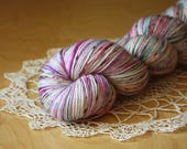 Hand Dyed Yarn / Fingering Weight / Orchid Berry Aqua Speckled Lyrica Superwash Merino Wool / Gifts for Knitters Crocheters