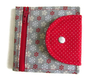 Wallet cotton small patterns taupe and red door card, wallet