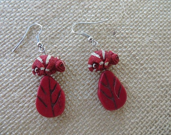 Red Painted Clay Chameleons And Red Leaves Earrings
