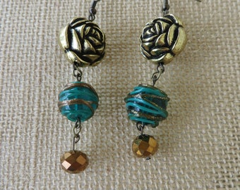 Blue Green Copper And Gold Mixed Textures Statement Earrings