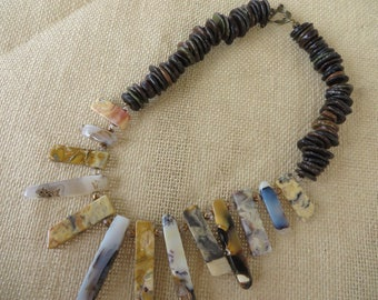 Landscape Agate Spears And Brown Toned Shell Beaded Tribal Inspired Necklace