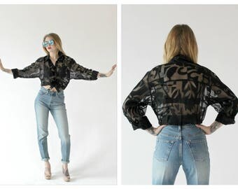 90s Oversized Sheer Top- Graphic Art, M, L, Hipster Blouse, Goth