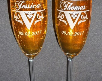 Toasting Champagne Flutes (Set of Two), Your LAST NAME Initial, Name of Bride & Groom and Wedding DATE, , Wedding Flutes, Celebration
