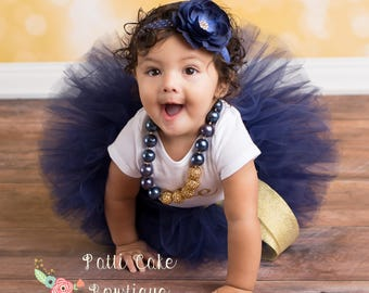 Gold and Navy Blue Tulle Skirt/1st Birthday Tutu Skirt/Baby Tutu/Cake Smash Birthday Outfit/Toddler Tutu/Newborn Tutu/Blue Tutus