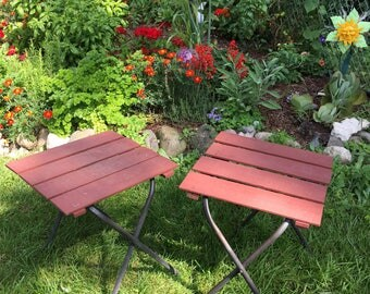 Pair Of Matching Vintage Wooden Side Table, Wooden Lawn Chair Tables,  Aluminum And Wood